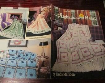 Afghan Crocheting Patterns Afghans From the Heart American School of Needlework 1175 Crochet Leaflet Linda Mershon