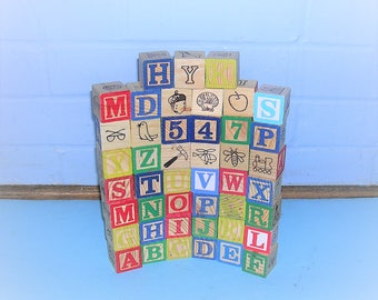 45 Antique Vintage Alphabet Blocks Antique Vintage Wooden Blocks Antique Vintage Wood Blocks