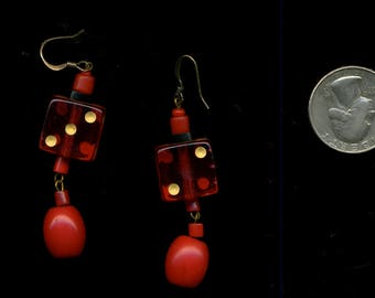 RED DICE VinTaGe with African Glass Beads EARRINGS