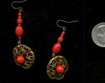 ORNATE Brass Florets RED AFRICAN BeaDs EaRRings