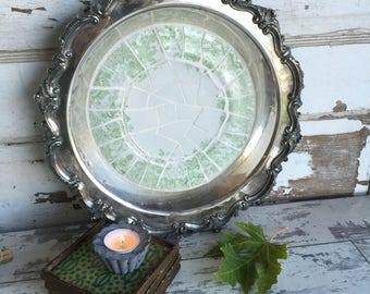 Vintage Broken China Mosaic Tray Green and White Transferware - Silver Dish