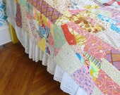 Vintage Colorful Quilt, Vintage Quilt, Crazy Quilt, Child Quilt, Twin Double Full Quilt, Vintage Bedspread, Girl Quilt, Scrap Quilt, Yellow