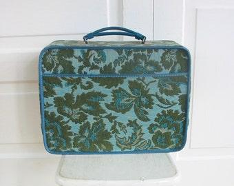 Vintage Aqua Suitcase, Child Suitcase, Floral Suitcase, Aqua Blue Floral Suitcase, Small Suitcase, Tapestry Suitcase, Blue Suitcase, Flower
