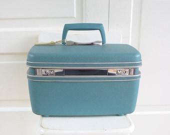 Vintage Train Case, Blue Train Case, Blue Suitcase, Retro Storage, Samsonite Train case, Blue Samsonite Train Case, Traincase