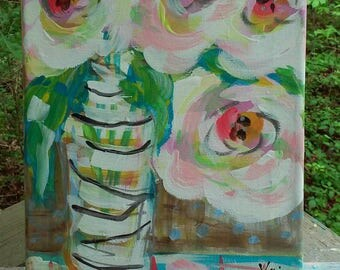 "Abstract Flowers in Vase Pink Peonies Original Painting 9"" x 12"" Ready to Ship YelliKelli"