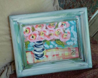 "Pink Flowers in Vase Abstract Painting on Watercolor Paper in 8""x10"" Frame Ready to Ship YelliKelli"