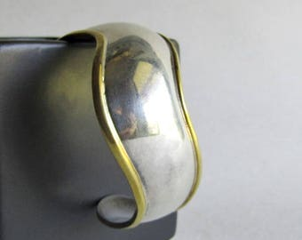Vintage Sterling Silver and Brass Taxco Cuff Bracelet - TS-162 - 38 grams - Vintage Sterling Silver Tasco Jewelry