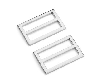 "100pcs - 1 1/2"" (38mm) Flat Diecast Slide Buckle - (FBK-116) - Nickel - Free Shipping"