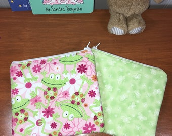 Set of 2 Girls Frog & Butterfly Reusable Insulated Snack Bag, Zipper Pouch, Zipper Reusable Snack Pouch, Kids Snack Bag