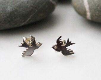 Tiny tattoo swallow earrings