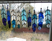 Indian Chief  Eagle Osprey Bird Feather  in blues stained glass with beads