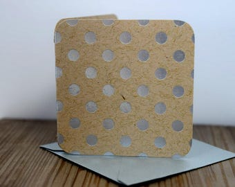 Blank Mini Card Set of 10, Foil Polka Dots on Kraft Cardstock with Metallic Silver Envelopes, mad4plaid