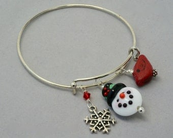 Antique Silver Adjustable Bangle Snowman Bracelet, Snowman Bangle, Cardinal Bracelet,  Bracelet, Snowflake Bracelet, Gift for BFF, Co-worker