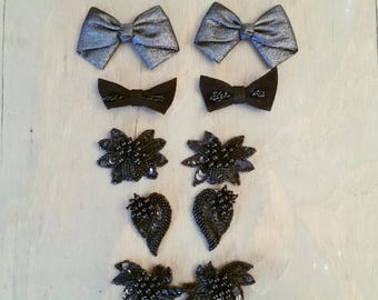 5 Pairs of Vintage Black Fancy Shoe Clips with Sequins and Beads and Sparkle