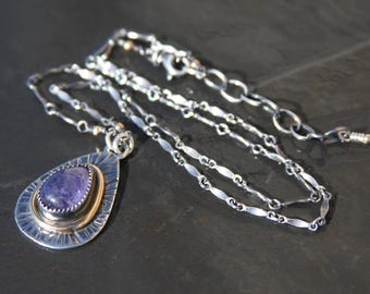 tanzanite, gold filled wire and sterling silver pendant necklace