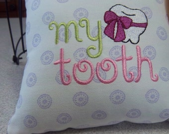 1053 1061 Embroidered Tooth Fairy Pillow on Purple and White Fabric