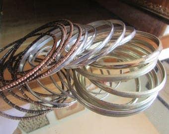 gold copper silver bangles