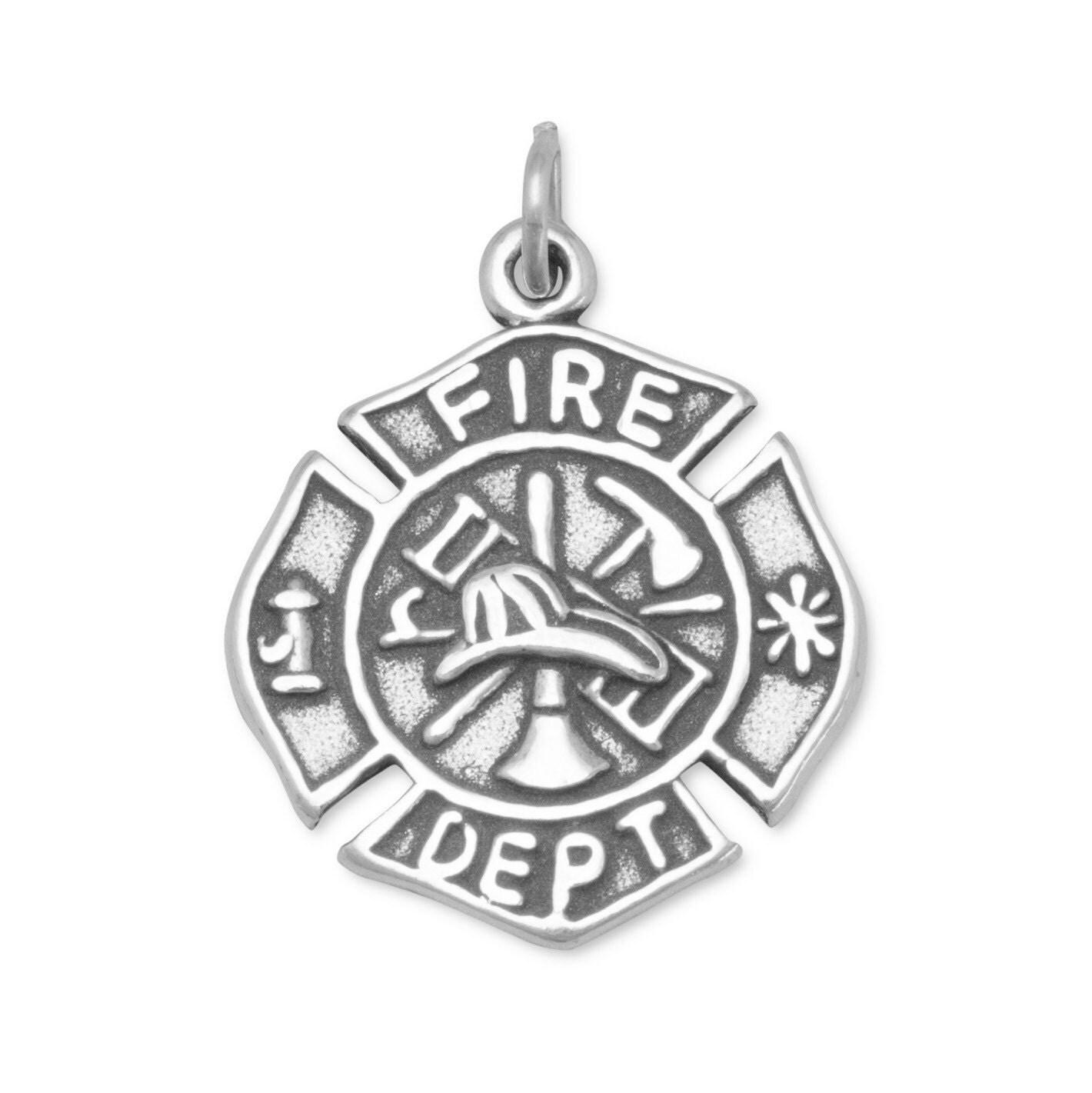 Fire Department Maltese Cross Necklace: Firefighter Charm Firefighter Maltese Cross Charm