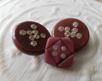 Vintage buttons, lot of 3 deep pink  acrylic with rhinestones designs,  (mar 268 17 )