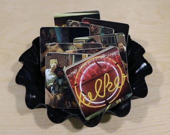 Jerry Jeff Walker handmade wood coasters and vinyl bowl created from recycled It's a Good Night for Singing record album