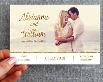"""50+ Save the date card, postcard, gold, script """"Abrianna Style"""""""