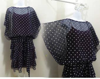 Vintage 70s Dress size S M Navy Blue White Polka Dot Tiered Disco Chiffon Drape
