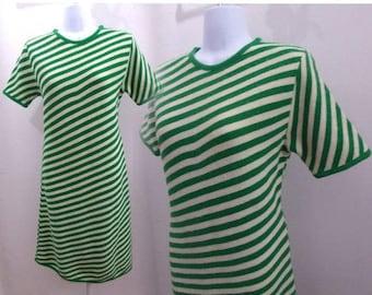 Vintage 60s Sweater Dress Size L Green Stripe Mod Knit Secretary Shift Frock