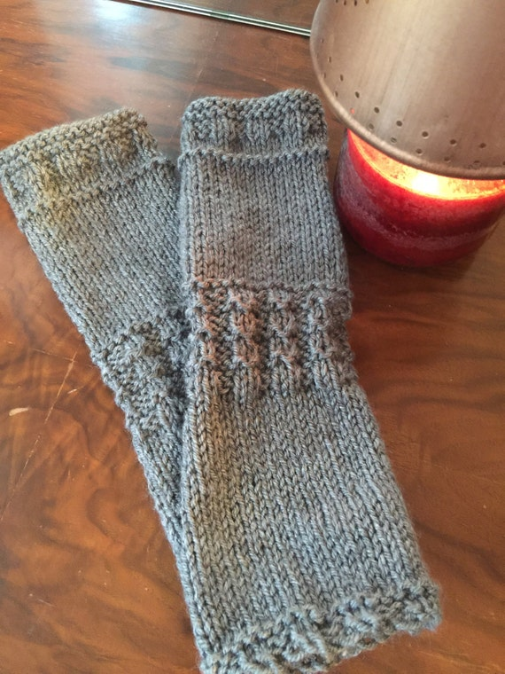Outlander Inspired Claire's Fingerless Mitts Hand Knit Dark Grey