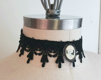 Cameo Choker Lolita Lace Necklace - Goth Victorian Steampunk Traditional Face - Ribbon-Custom to Order