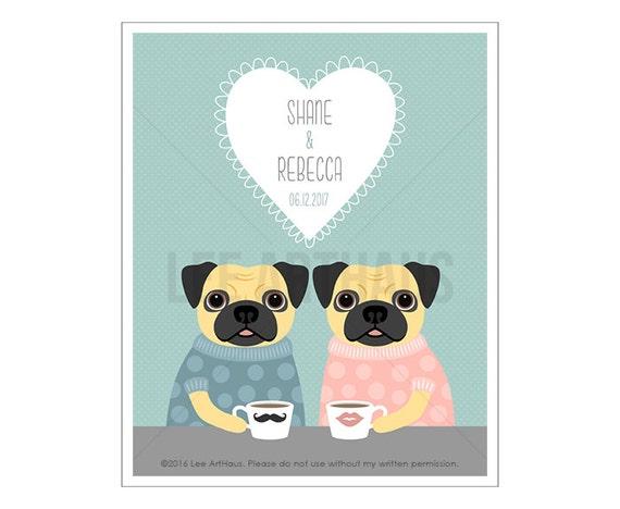 206P Housewarming Gift - Custom Names Pug Wall Art - Engagement Gift - Anniversary Present - Pug Print - Custom Couple Art- Dog Prints