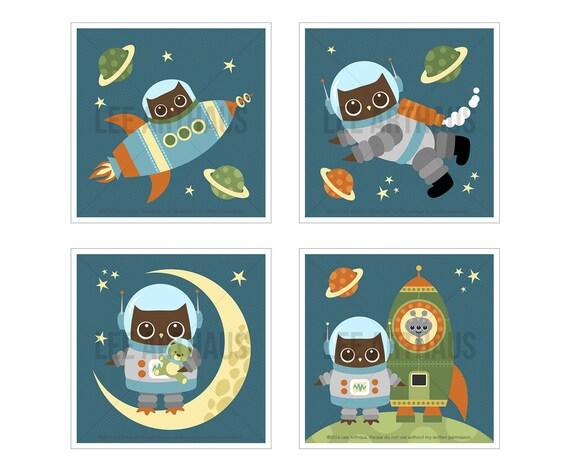 15S Owl Art - Astronaut Owl Print Set - Set of 4 Prints - Space Nursery Wall Art - Boy Bedroom Decor - Baby Boy Bedroom Wall Art - Owl Decor
