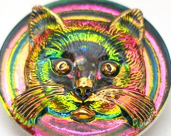 "3D CAT BUTTON, Czech glass kitty face in pink, green & gold, 1"", 27mm."