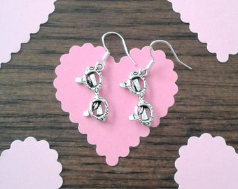 Tibetan Silver Eye Glasses Charms and Sterling Silver Ear Wire Earrings
