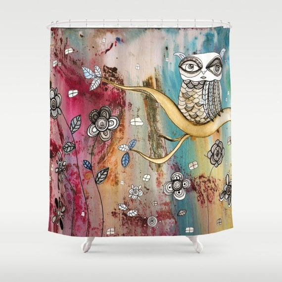 Owl Shower Curtain Colorful Boho Shower Curtain Bathroom