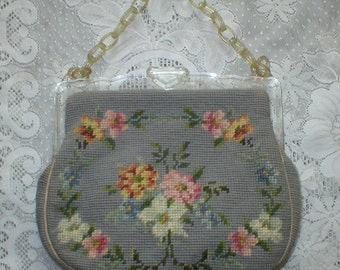 Wool NeedlePoint Purse Lucite Frame and Handle Vintage HandBag Pocketbook