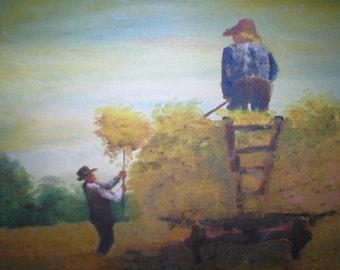 Oil Painting Harvesting Hay Amish Farmers Vintage Antique Folk Art Large 16X20