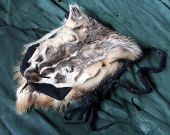 Real American badger fur and leather shoulder bag pouch with braided cord pelt hide skin totem bag