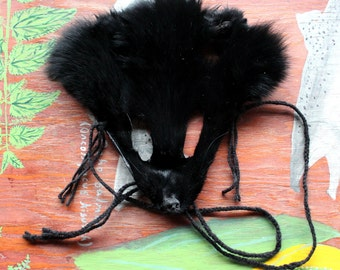 fox mask - real eco-friendly black dyed fox fur mask headdress with ears and braided yarn cords for ritual, dance, costume and more