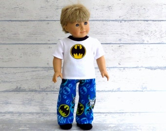American Boy Doll Comic Book Hero PJs, 18 inch Doll Clothes Summer Pajamas