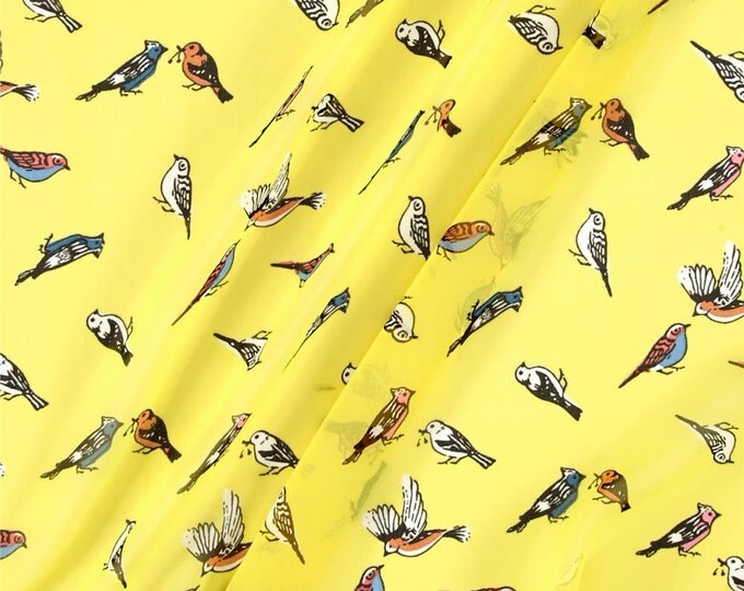 Bird Print in Yellow by Telio - Polyester Crepe Georgette FABRIC