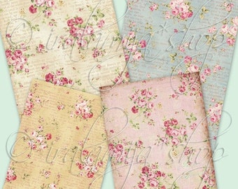 SALE VINTAGE ROSE backgrounds Collage Digital Images -printable download file-