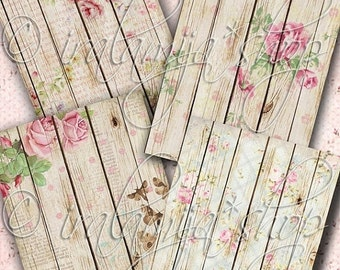 SALE WOOD FLORAL backgrounds Collage Digital Images -printable download file-