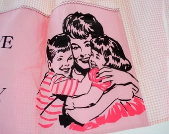 Pink gingham apron - I love my Mommy