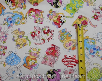 Calico Cats Silly Kittys Kittens Flowers on White BY YARDS Loralie Cotton Fabric