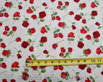 Red Roses Garden Flowers Foral On Cream BY YARDS Timeless Treasure Fabric