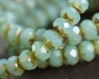WONDROUS No. 3 .. 10 Premium Picasso Czech Rondelle Glass Beads 5x7mm (B09-10)