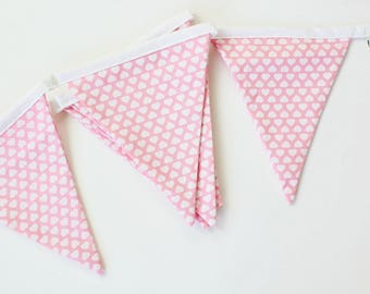 Pink and white hearts Flags Bunting garland banner for home decor