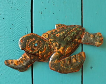 Young Sea Turtle - copper metal marine reptile art sculpture - wall hanging - with verdigris blue-green  and naturally-aged patinas - OOAK