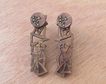 Wooden ear Jackets laser cut earrings, Geometric triangle ear jackets, Wooden jewelry, Handpainted wooden earrings, Wooden earrings,Geometry