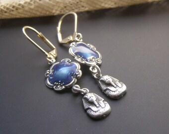 Pharaoh Earrings, Egyptian Revival Jewelry, Egyptian Earrings, King Tut Earrings, Blue Flower Earrings, Enamel Earrings, Dangle Earrings